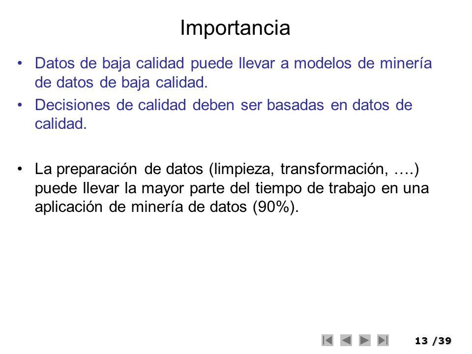 13/39 Importancia Datos de baja calidad puede llevar a modelos de minería de datos de baja calidad. Decisiones de calidad deben ser basadas en datos d