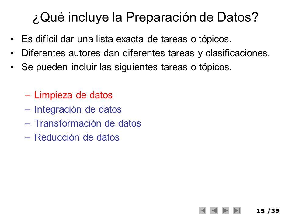 15/39 ¿Qué incluye la Preparación de Datos? Es difícil dar una lista exacta de tareas o tópicos. Diferentes autores dan diferentes tareas y clasificac