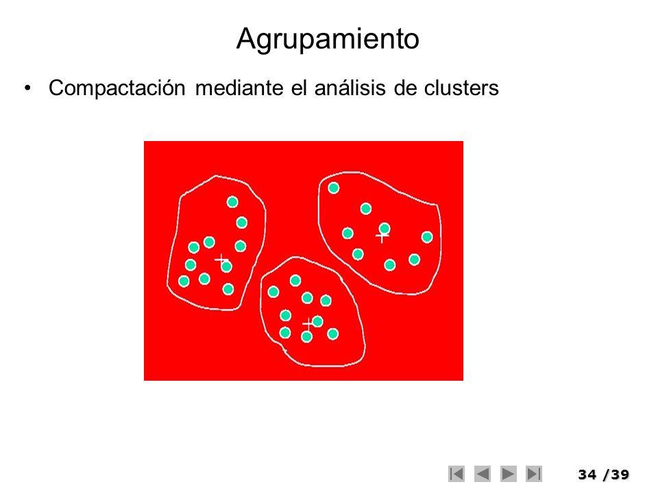 34/39 Agrupamiento Compactación mediante el análisis de clusters