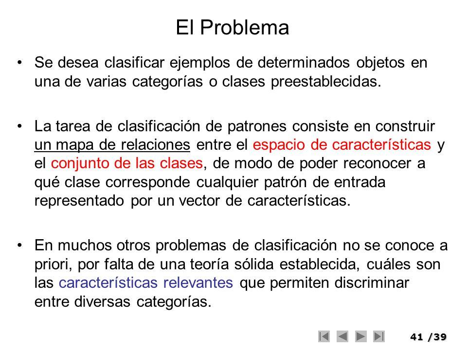 41/39 El Problema Se desea clasificar ejemplos de determinados objetos en una de varias categorías o clases preestablecidas. La tarea de clasificación