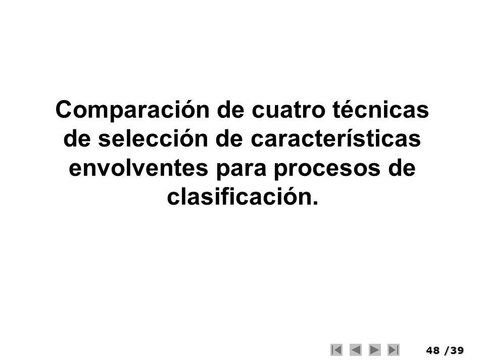 48/39 Comparación de cuatro técnicas de selección de características envolventes para procesos de clasificación.
