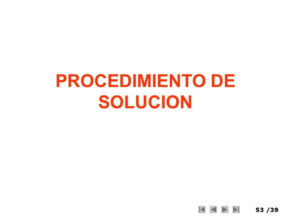 53/39 PROCEDIMIENTO DE SOLUCION