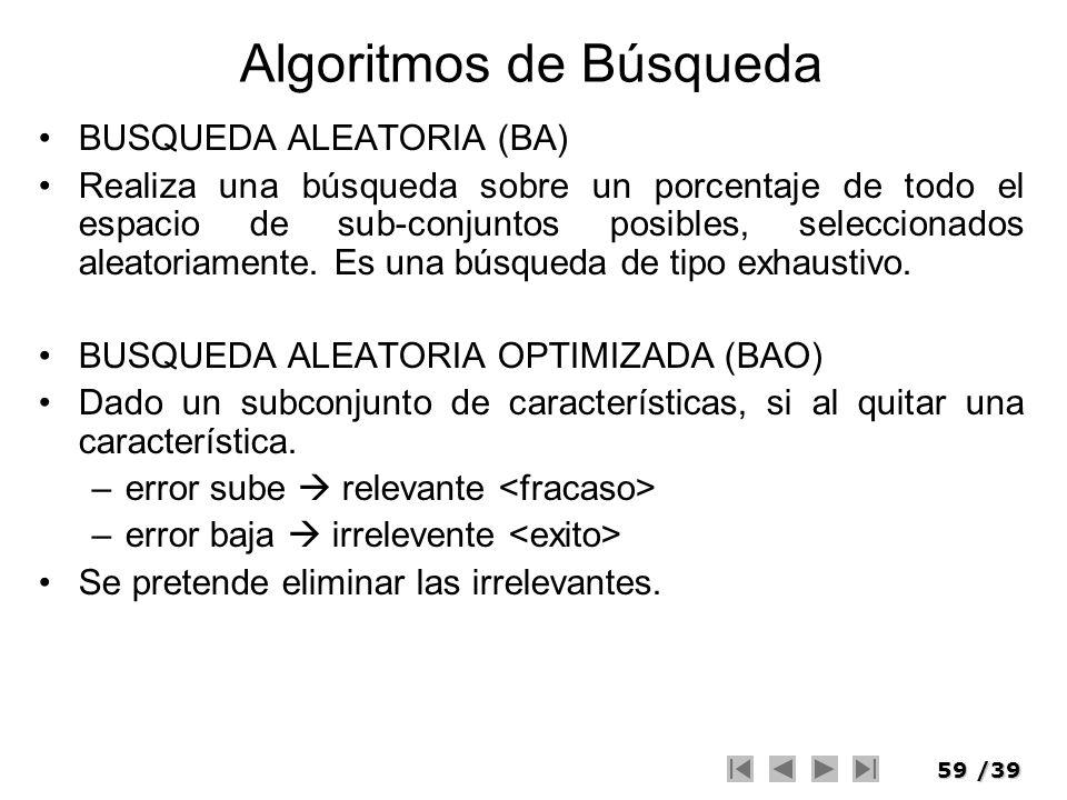59/39 Algoritmos de Búsqueda BUSQUEDA ALEATORIA (BA) Realiza una búsqueda sobre un porcentaje de todo el espacio de sub-conjuntos posibles, selecciona