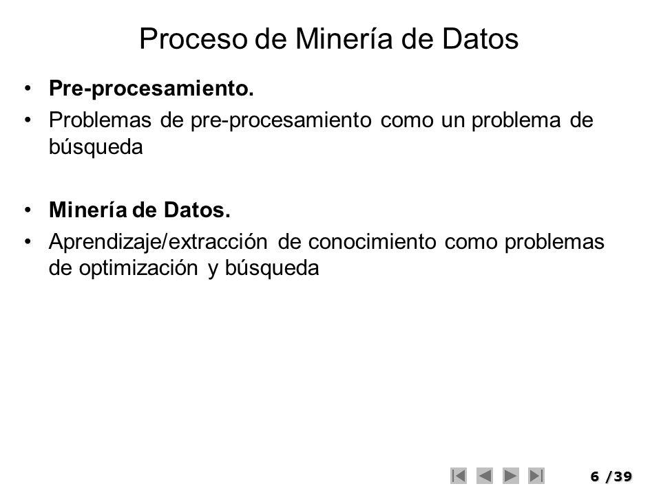 6/39 Proceso de Minería de Datos Pre-procesamiento. Problemas de pre-procesamiento como un problema de búsqueda Minería de Datos. Aprendizaje/extracci