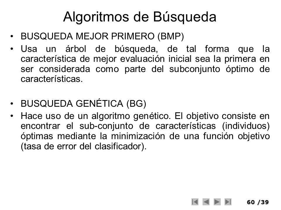 60/39 Algoritmos de Búsqueda BUSQUEDA MEJOR PRIMERO (BMP) Usa un árbol de búsqueda, de tal forma que la característica de mejor evaluación inicial sea