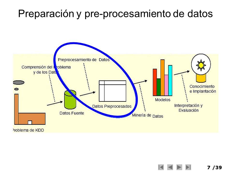 8/39 Preparación de Datos El propósito fundamental de la preparación de los datos es la manipulación y transformación de los datos sin refinar para que la información contenida en el conjunto de datos pueda ser descubierta o estar accesible de forma más fácil.