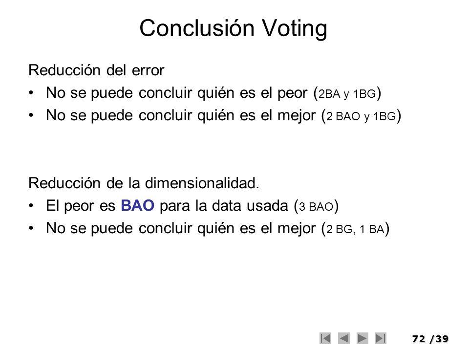 72/39 Conclusión Voting Reducción del error No se puede concluir quién es el peor ( 2BA y 1BG ) No se puede concluir quién es el mejor ( 2 BAO y 1BG )