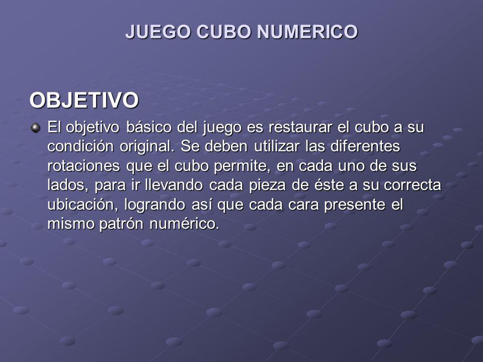 JUEGO CUBO NUMERICO OBJETIVO El objetivo básico del juego es restaurar el cubo a su condición original. Se deben utilizar las diferentes rotaciones qu
