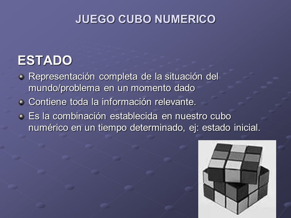 JUEGO CUBO NUMERICO ESTADO Representación completa de la situación del mundo/problema en un momento dado Contiene toda la información relevante. Es la