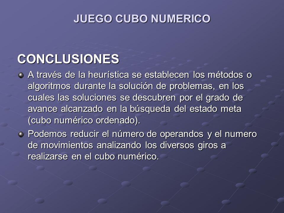 JUEGO CUBO NUMERICO CONCLUSIONES A través de la heurística se establecen los métodos o algoritmos durante la solución de problemas, en los cuales las