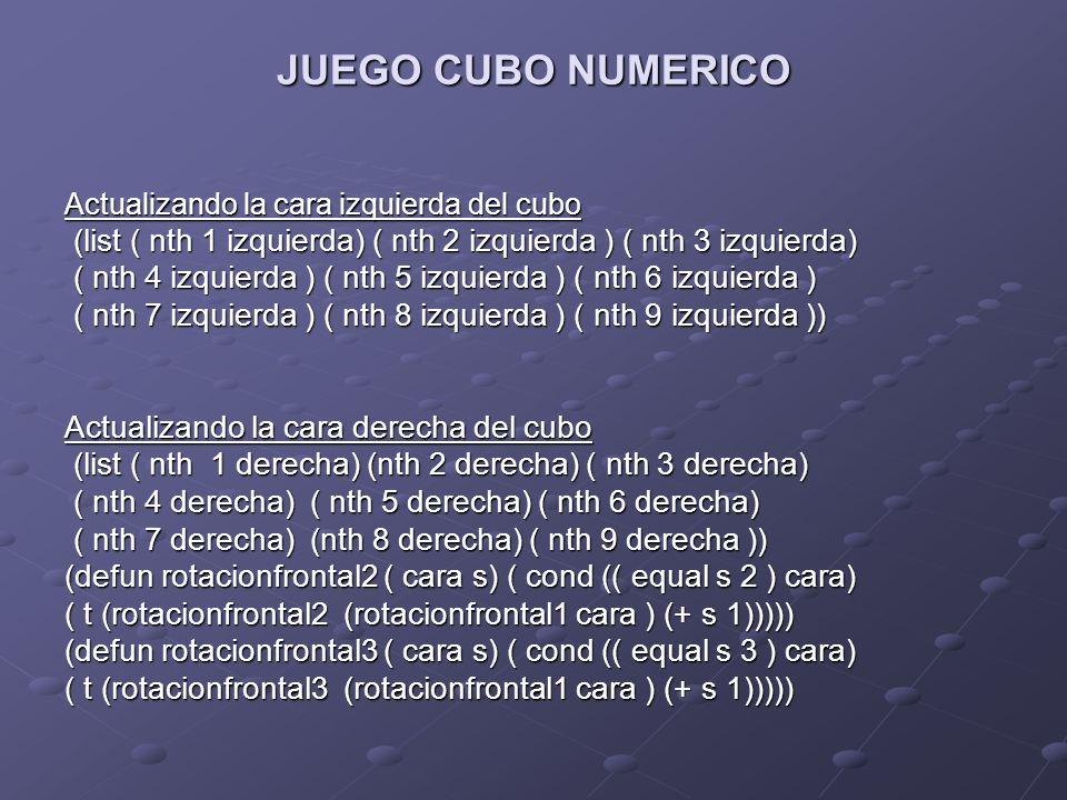 JUEGO CUBO NUMERICO Actualizando la cara izquierda del cubo (list ( nth 1 izquierda) ( nth 2 izquierda ) ( nth 3 izquierda) (list ( nth 1 izquierda) (