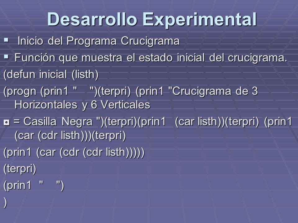 Desarrollo Experimental Inicio del Programa Crucigrama Inicio del Programa Crucigrama Función que muestra el estado inicial del crucigrama. Función qu