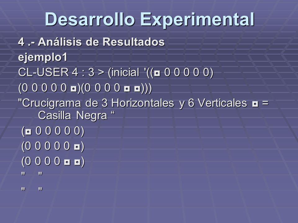 Desarrollo Experimental 4.- Análisis de Resultados ejemplo1 CL-USER 4 : 3 > (inicial '(( 0 0 0 0 0) (0 0 0 0 0 )(0 0 0 0 )))