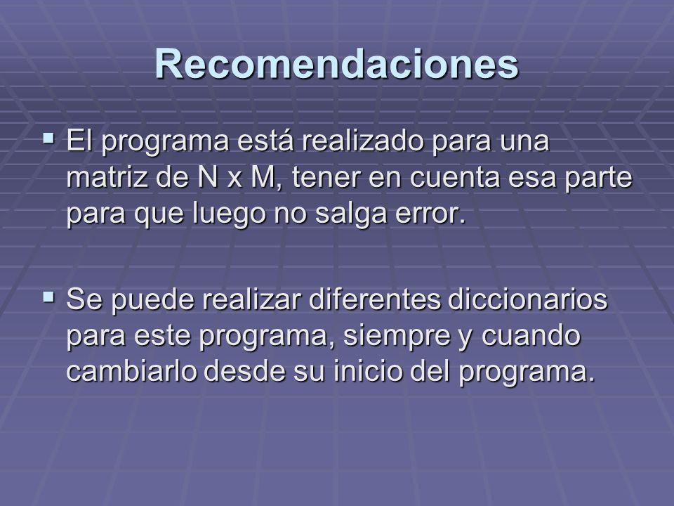Recomendaciones El programa está realizado para una matriz de N x M, tener en cuenta esa parte para que luego no salga error. El programa está realiza