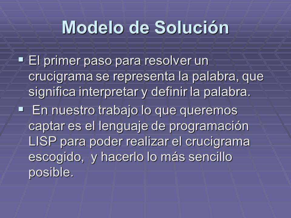 Modelo de Solución El primer paso para resolver un crucigrama se representa la palabra, que significa interpretar y definir la palabra. El primer paso
