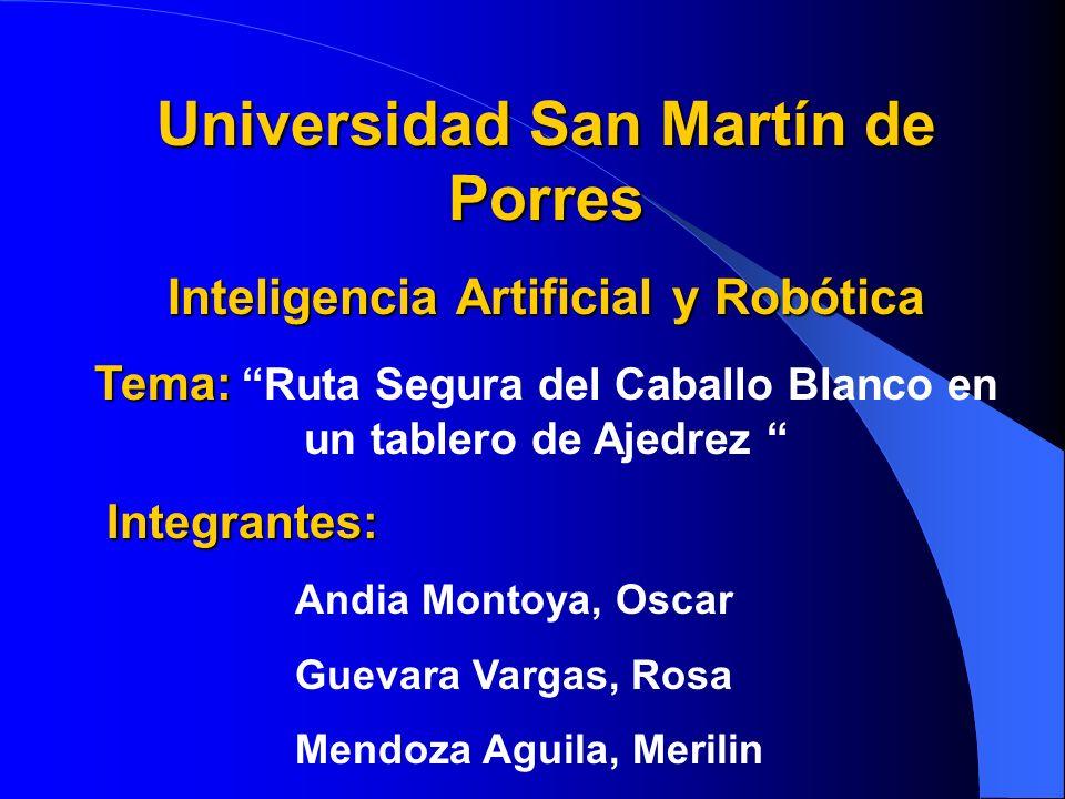 Universidad San Martín de Porres Inteligencia Artificial y Robótica Tema: Tema: Ruta Segura del Caballo Blanco en un tablero de Ajedrez Integrantes: A