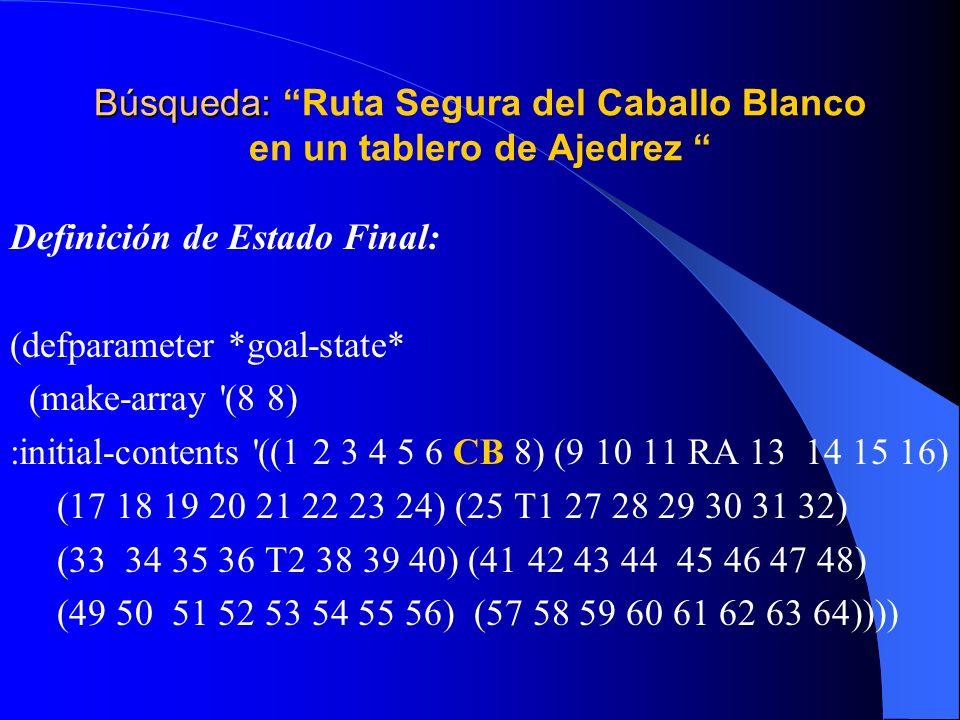 Búsqueda: Búsqueda: Ruta Segura del Caballo Blanco en un tablero de Ajedrez Definición de Estado Final: (defparameter *goal-state* (make-array '(8 8)