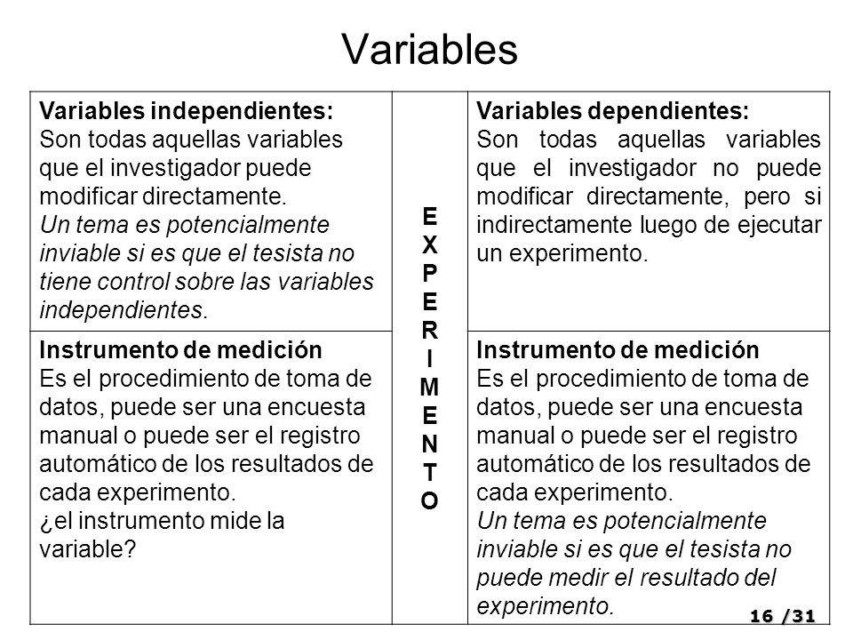 16/31 Variables Variables independientes: Son todas aquellas variables que el investigador puede modificar directamente.