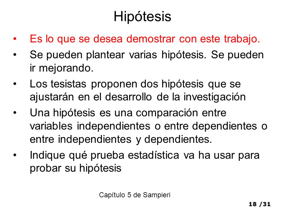 18/31 Hipótesis Es lo que se desea demostrar con este trabajo.