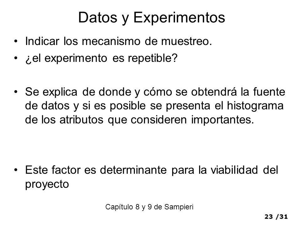 23/31 Datos y Experimentos Indicar los mecanismo de muestreo.