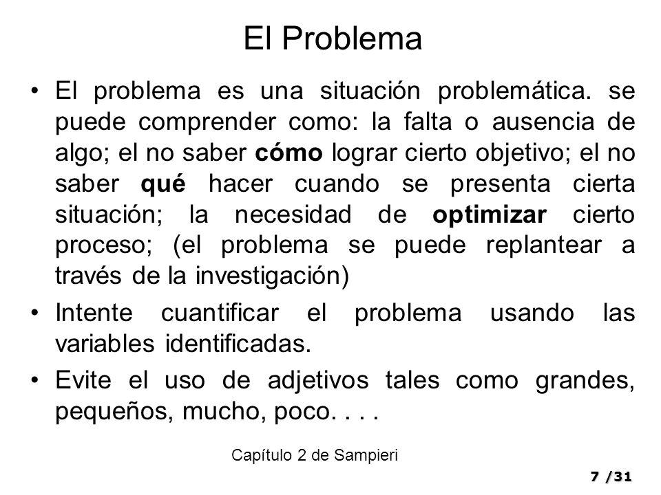 7/31 El Problema El problema es una situación problemática.