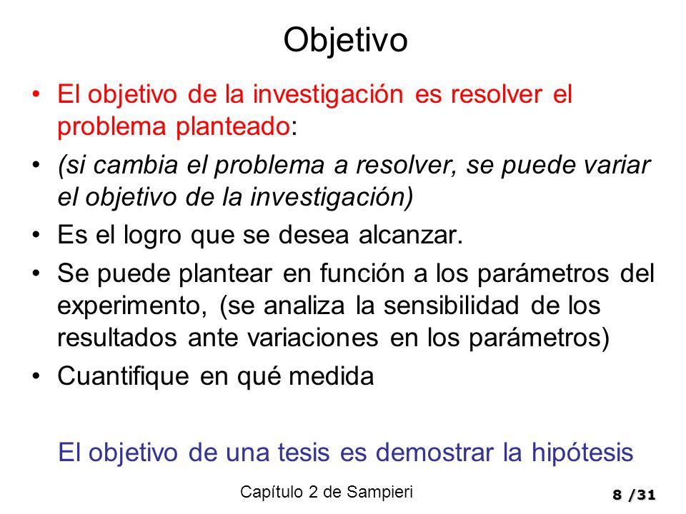 8/31 Objetivo El objetivo de la investigación es resolver el problema planteado: (si cambia el problema a resolver, se puede variar el objetivo de la investigación) Es el logro que se desea alcanzar.