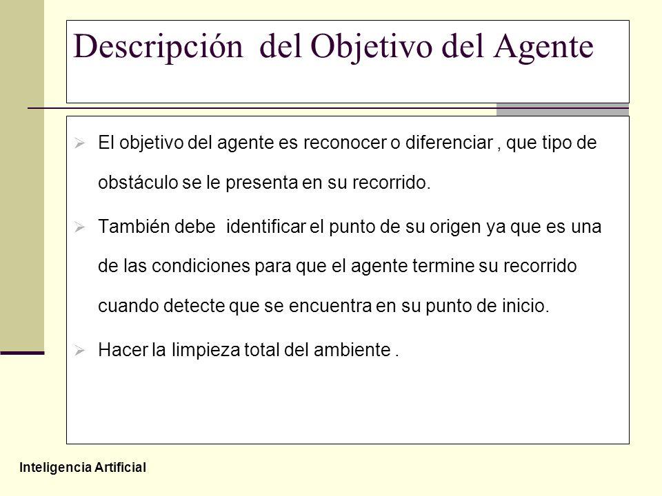 Inteligencia Artificial Descripción del Objetivo del Agente El objetivo del agente es reconocer o diferenciar, que tipo de obstáculo se le presenta en