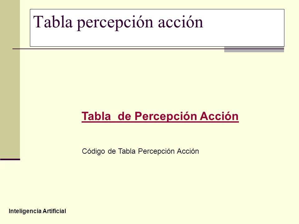Inteligencia Artificial Tabla percepción acción Tabla de Percepción Acción Código de Tabla Percepción Acción
