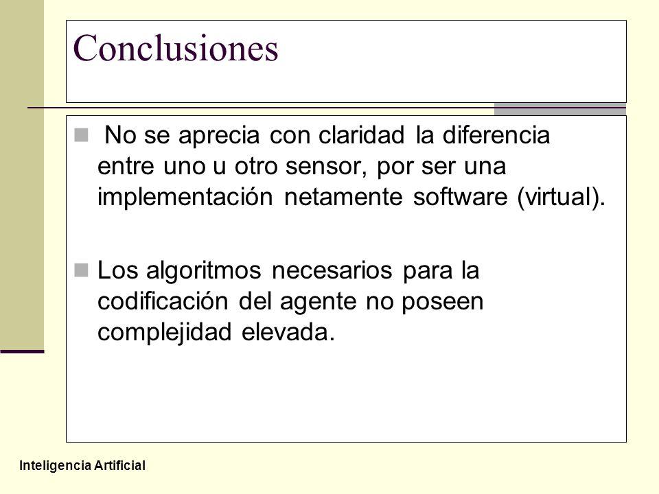 Inteligencia Artificial Conclusiones No se aprecia con claridad la diferencia entre uno u otro sensor, por ser una implementación netamente software (