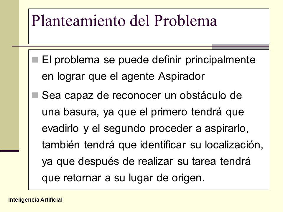 Inteligencia Artificial Planteamiento del Problema El problema se puede definir principalmente en lograr que el agente Aspirador Sea capaz de reconoce
