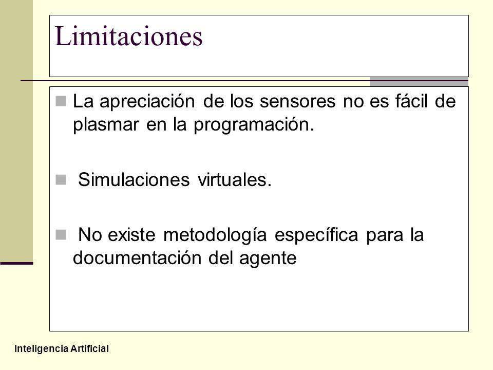 Inteligencia Artificial Limitaciones La apreciación de los sensores no es fácil de plasmar en la programación. Simulaciones virtuales. No existe metod