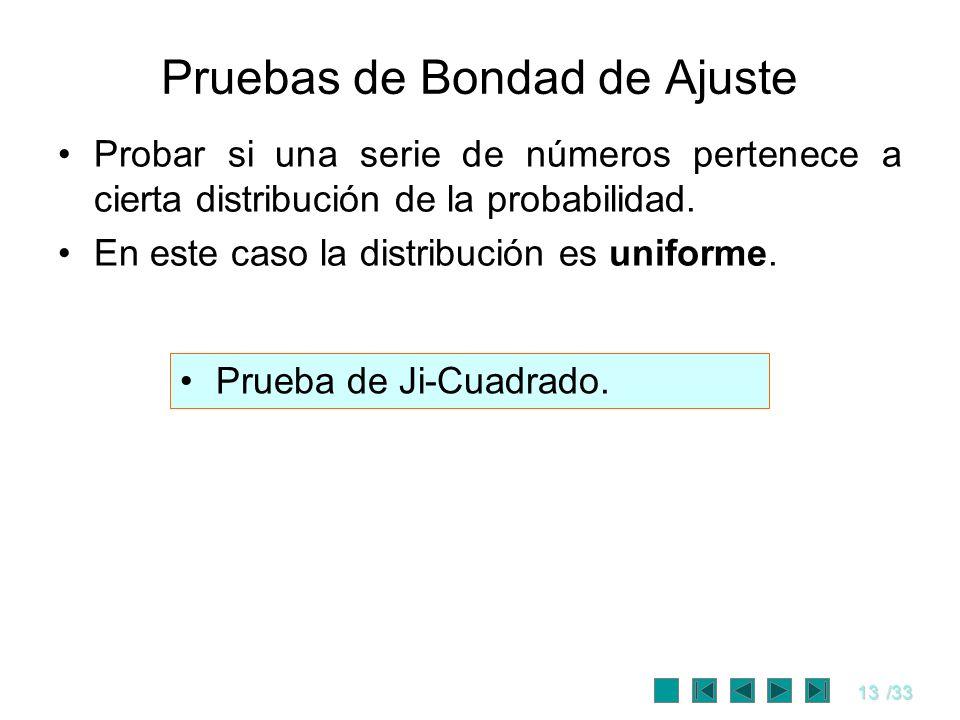 13/33 Pruebas de Bondad de Ajuste Probar si una serie de números pertenece a cierta distribución de la probabilidad. En este caso la distribución es u