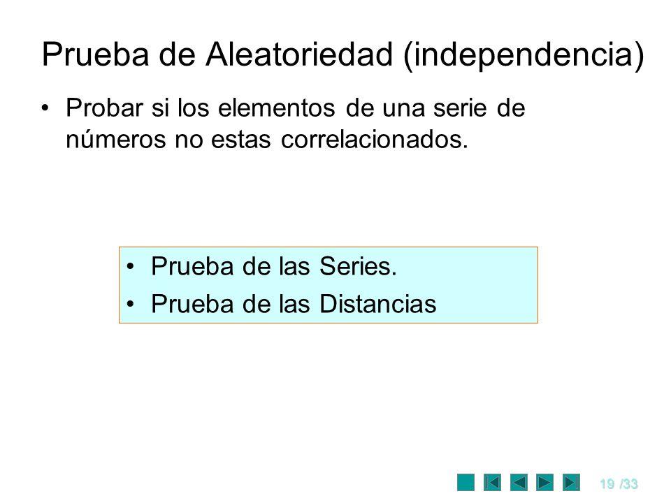 19/33 Prueba de Aleatoriedad (independencia) Probar si los elementos de una serie de números no estas correlacionados. Prueba de las Series. Prueba de