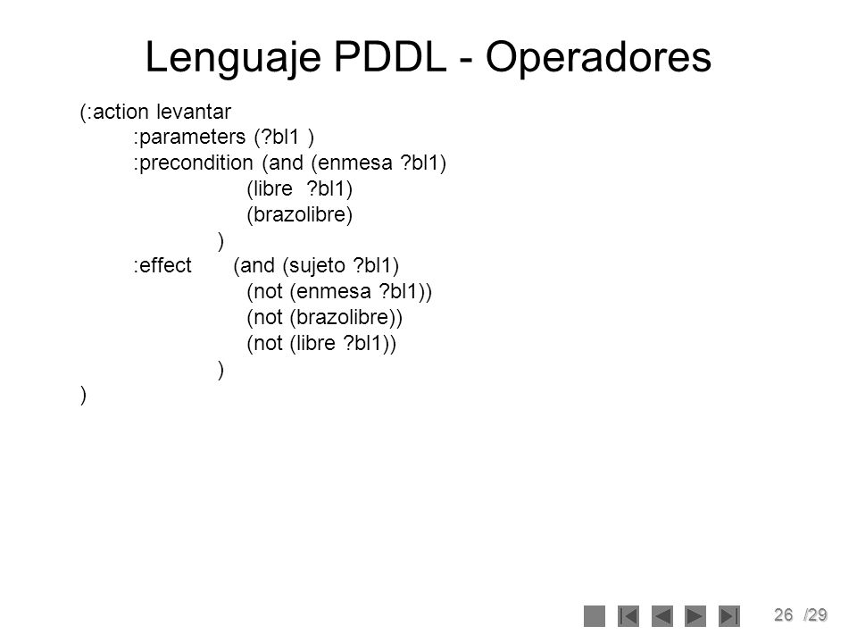 26/29 Lenguaje PDDL - Operadores (:action levantar :parameters (?bl1 ) :precondition (and (enmesa ?bl1) (libre ?bl1) (brazolibre) ) :effect (and (suje