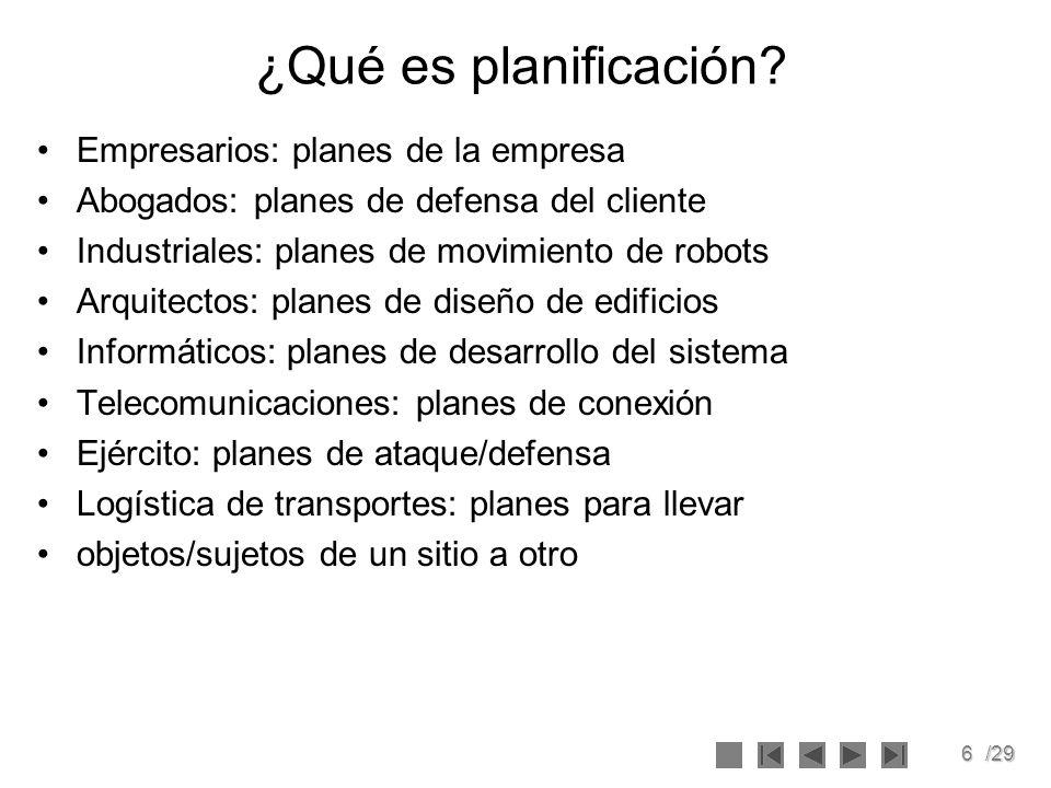 6/29 ¿Qué es planificación? Empresarios: planes de la empresa Abogados: planes de defensa del cliente Industriales: planes de movimiento de robots Arq