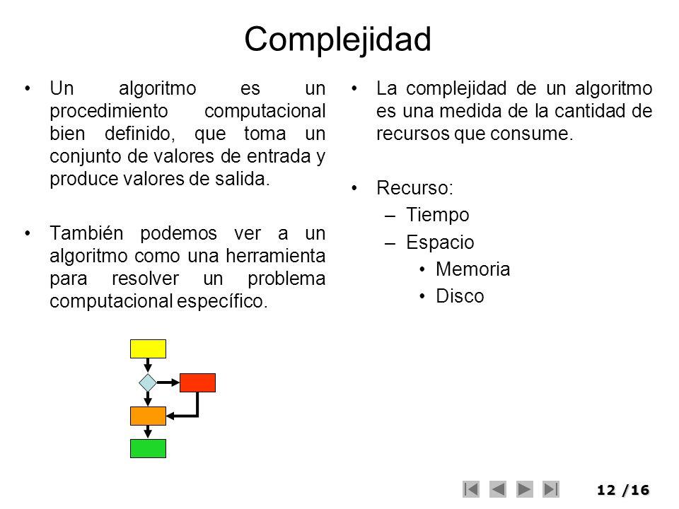 12/16 Complejidad Un algoritmo es un procedimiento computacional bien definido, que toma un conjunto de valores de entrada y produce valores de salida