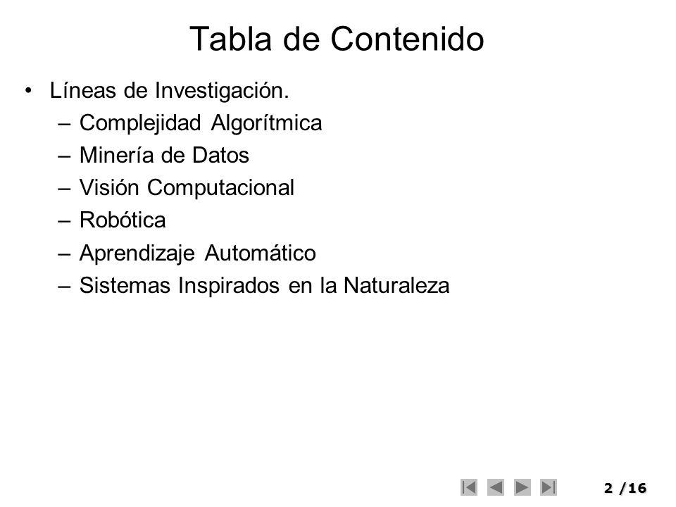 2/16 Tabla de Contenido Líneas de Investigación. –Complejidad Algorítmica –Minería de Datos –Visión Computacional –Robótica –Aprendizaje Automático –S