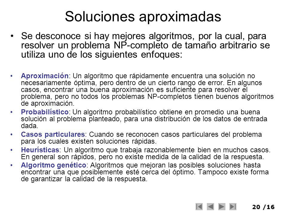 20/16 Soluciones aproximadas Se desconoce si hay mejores algoritmos, por la cual, para resolver un problema NP-completo de tamaño arbitrario se utiliz