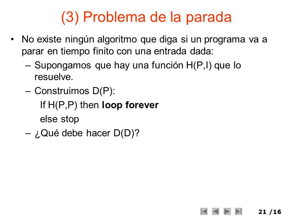 21/16 (3) Problema de la parada No existe ningún algoritmo que diga si un programa va a parar en tiempo finito con una entrada dada: –Supongamos que h