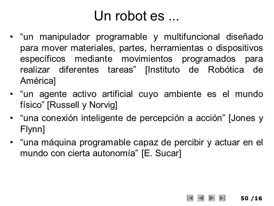 50/16 Un robot es... un manipulador programable y multifuncional diseñado para mover materiales, partes, herramientas o dispositivos específicos media