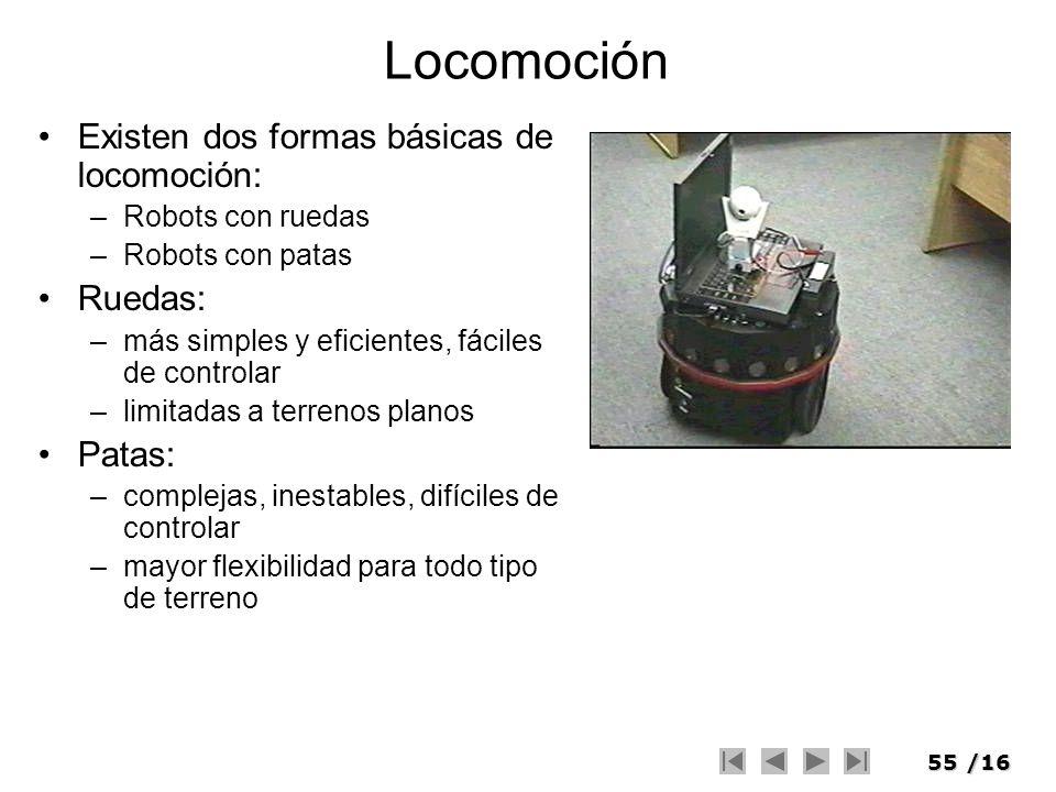 55/16 Locomoción Existen dos formas básicas de locomoción: –Robots con ruedas –Robots con patas Ruedas: –más simples y eficientes, fáciles de controla
