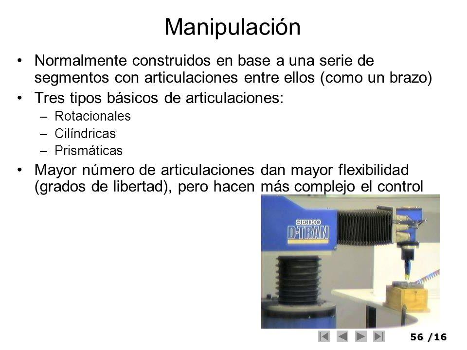 56/16 Manipulación Normalmente construidos en base a una serie de segmentos con articulaciones entre ellos (como un brazo) Tres tipos básicos de artic