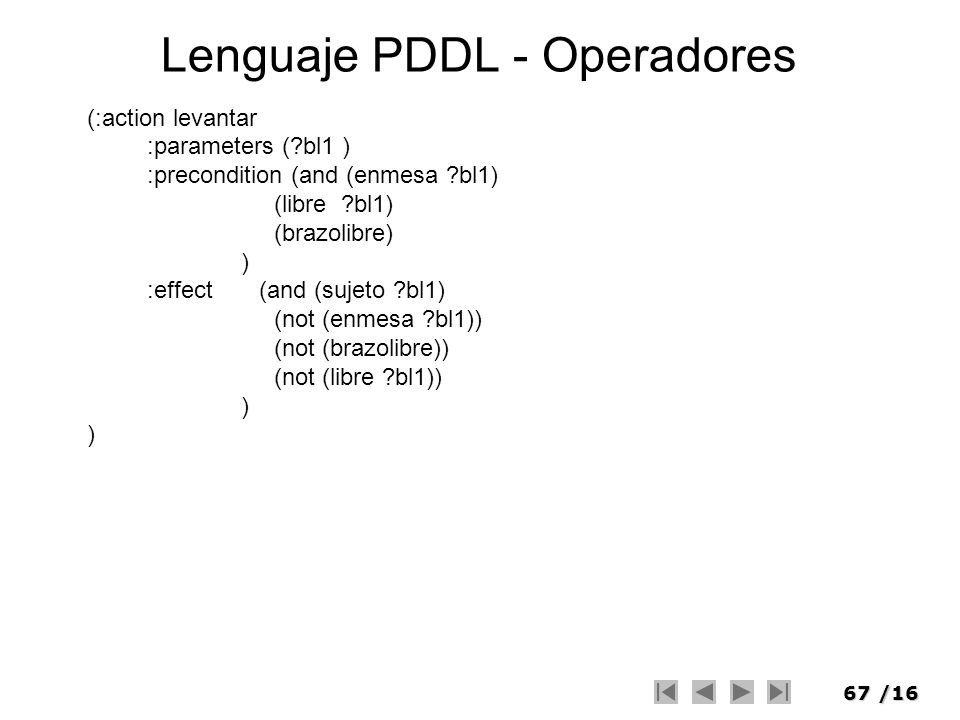 67/16 Lenguaje PDDL - Operadores (:action levantar :parameters (?bl1 ) :precondition (and (enmesa ?bl1) (libre ?bl1) (brazolibre) ) :effect (and (suje