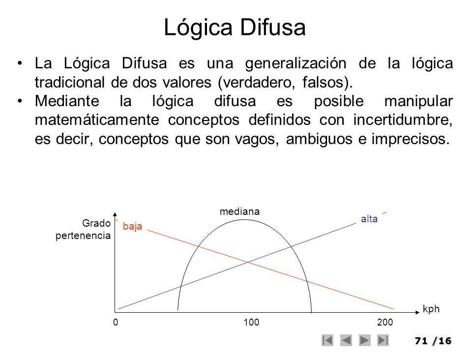 71/16 Lógica Difusa La Lógica Difusa es una generalización de la lógica tradicional de dos valores (verdadero, falsos). Mediante la lógica difusa es p
