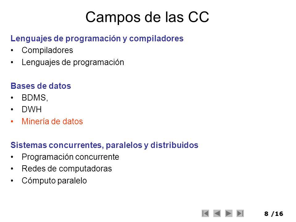 8/16 Campos de las CC Lenguajes de programación y compiladores Compiladores Lenguajes de programación Bases de datos BDMS, DWH Minería de datos Sistem