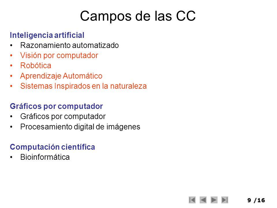 9/16 Campos de las CC Inteligencia artificial Razonamiento automatizado Visión por computador Robótica Aprendizaje Automático Sistemas Inspirados en l