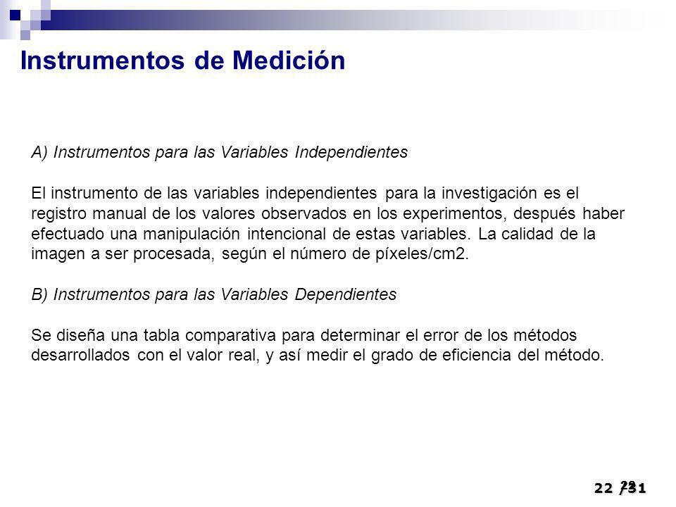 22/31 22 Instrumentos de Medición A) Instrumentos para las Variables Independientes El instrumento de las variables independientes para la investigaci