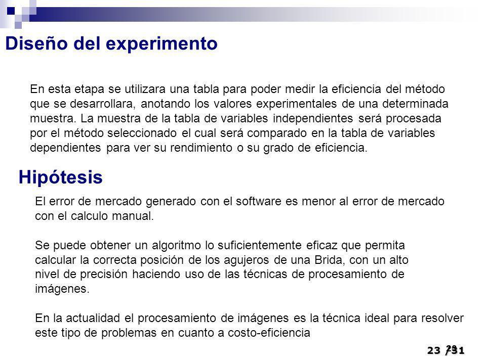 23/31 23 Diseño del experimento En esta etapa se utilizara una tabla para poder medir la eficiencia del método que se desarrollara, anotando los valor