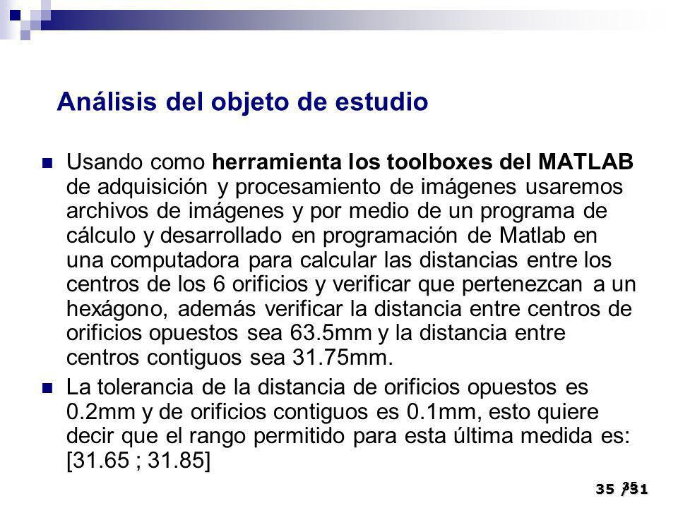 35/31 35 Usando como herramienta los toolboxes del MATLAB de adquisición y procesamiento de imágenes usaremos archivos de imágenes y por medio de un p