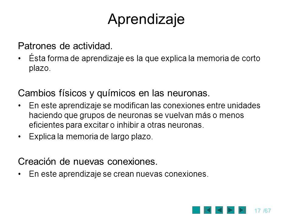 17/67 Aprendizaje Patrones de actividad. Ésta forma de aprendizaje es la que explica la memoria de corto plazo. Cambios físicos y químicos en las neur